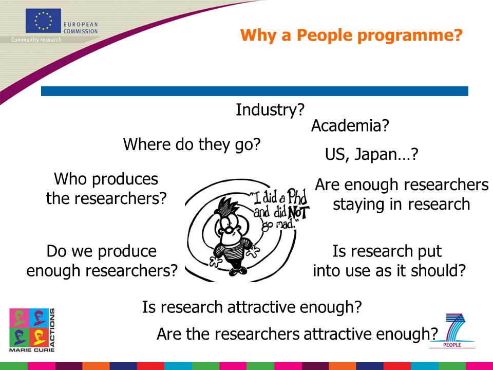 Why a People programme? Do we produce enough researchers? Who produces the researchers? Are enough researchers staying in research Is research put int