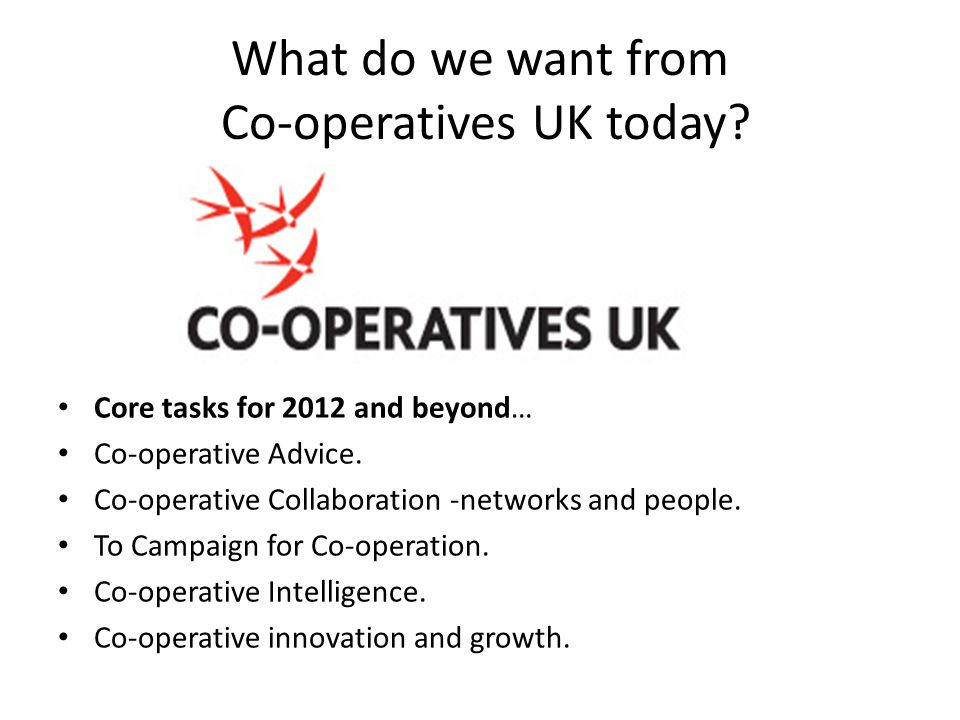 What do we want from Co-operatives UK today. Core tasks for 2012 and beyond… Co-operative Advice.