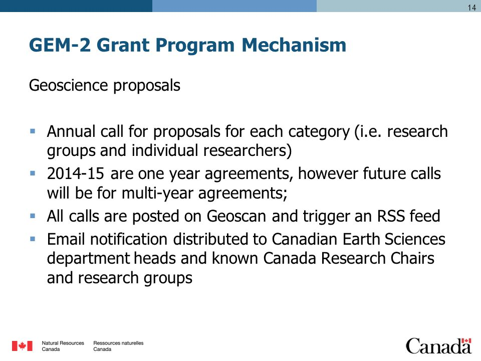 GEM-2 Grant Program Mechanism Geoscience proposals  Annual call for proposals for each category (i.e.