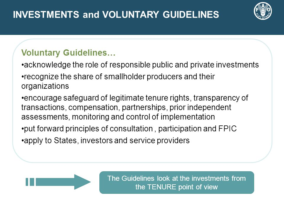 INVESTMENTS and VOLUNTARY GUIDELINES Voluntary Guidelines… acknowledge the role of responsible public and private investments recognize the share of smallholder producers and their organizations encourage safeguard of legitimate tenure rights, transparency of transactions, compensation, partnerships, prior independent assessments, monitoring and control of implementation put forward principles of consultation, participation and FPIC apply to States, investors and service providers The Guidelines look at the investments from the TENURE point of view