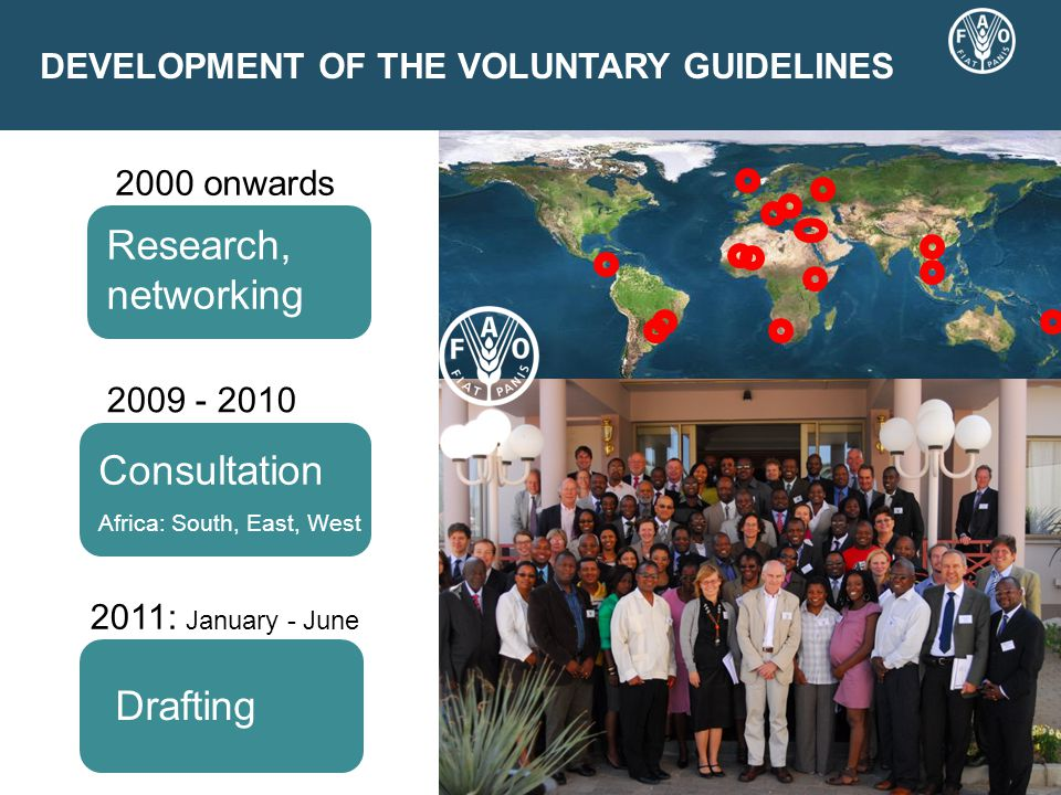 DEVELOPMENT OF THE VOLUNTARY GUIDELINES 2009 - 2010 2011: January - June Negotiations Consultation Africa: South, East, West Drafting Research, networking 2000 onwards