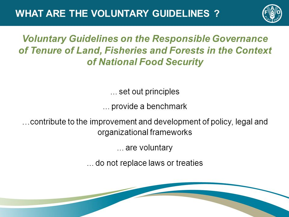 Voluntary Guidelines on the Responsible Governance of Tenure of Land, Fisheries and Forests in the Context of National Food Security...