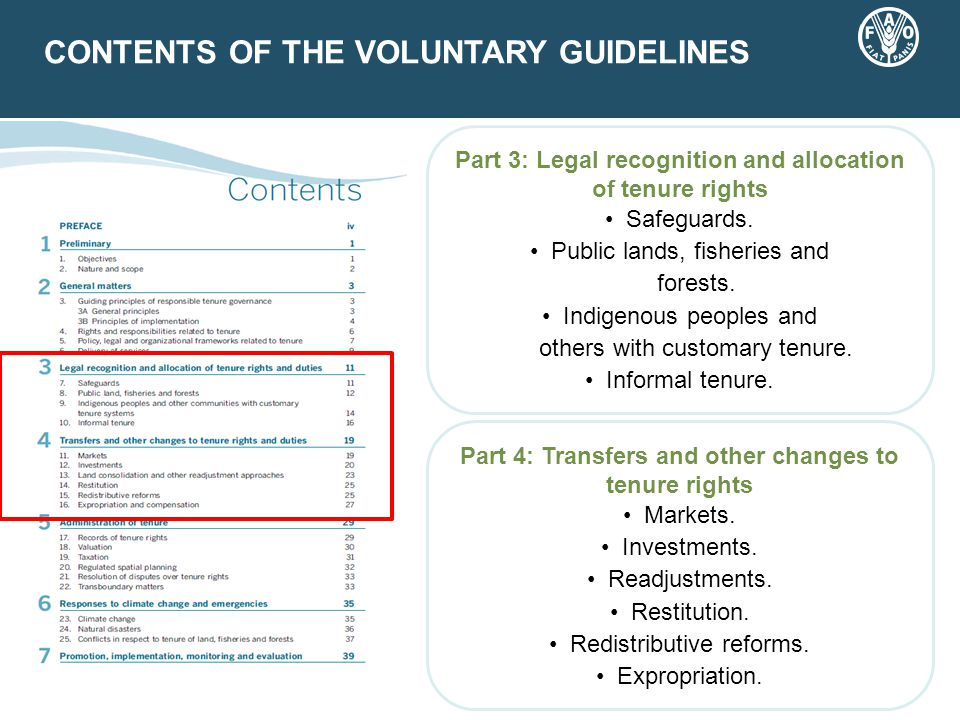 CONTENTS OF THE VOLUNTARY GUIDELINES Part 3: Legal recognition and allocation of tenure rights Safeguards.