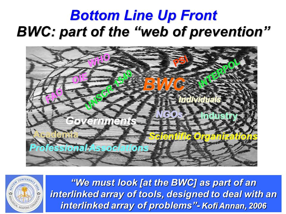 UNCLASSIFIED Bottom Line Up Front BWC: part of the web of prevention We must look [at the BWC] as part of an interlinked array of tools, designed to deal with an interlinked array of problems - Kofi Annan, 2006 BWC UNSCR 1540 INTERPOL FAO WHO OIE NGOs Scientific Organizations Professional Associations Governments PSI Industry Academia Individuals