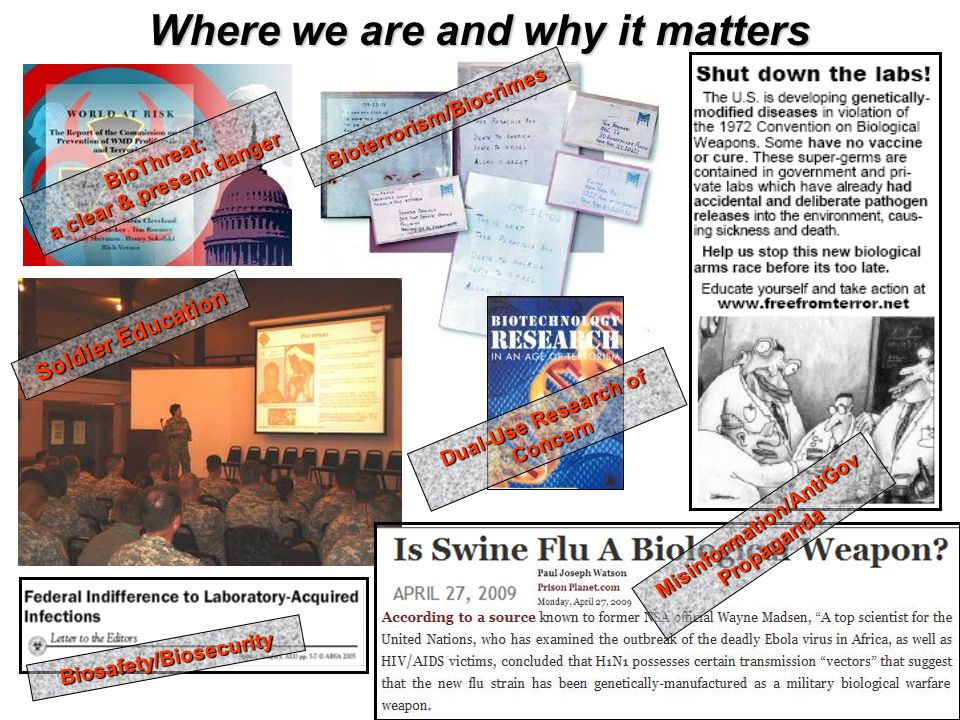 UNCLASSIFIED Where we are and why it matters BioThreat: a clear & present danger Soldier Education Misinformation/AntiGov Propaganda Bioterrorism/Biocrimes Dual-Use Research of Concern Biosafety/Biosecurity