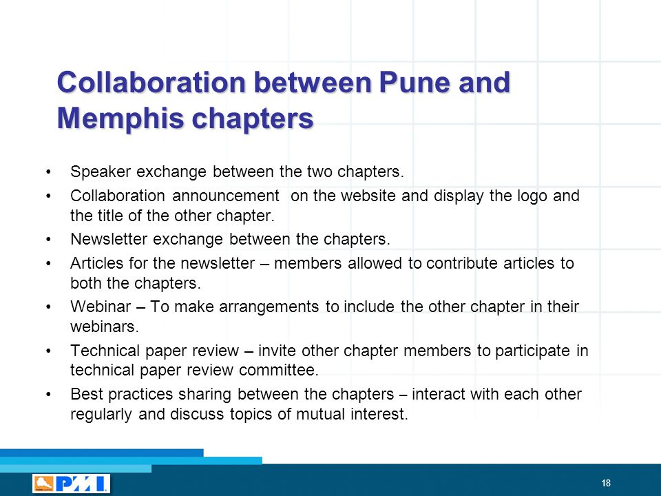18 Collaboration between Pune and Memphis chapters Speaker exchange between the two chapters.