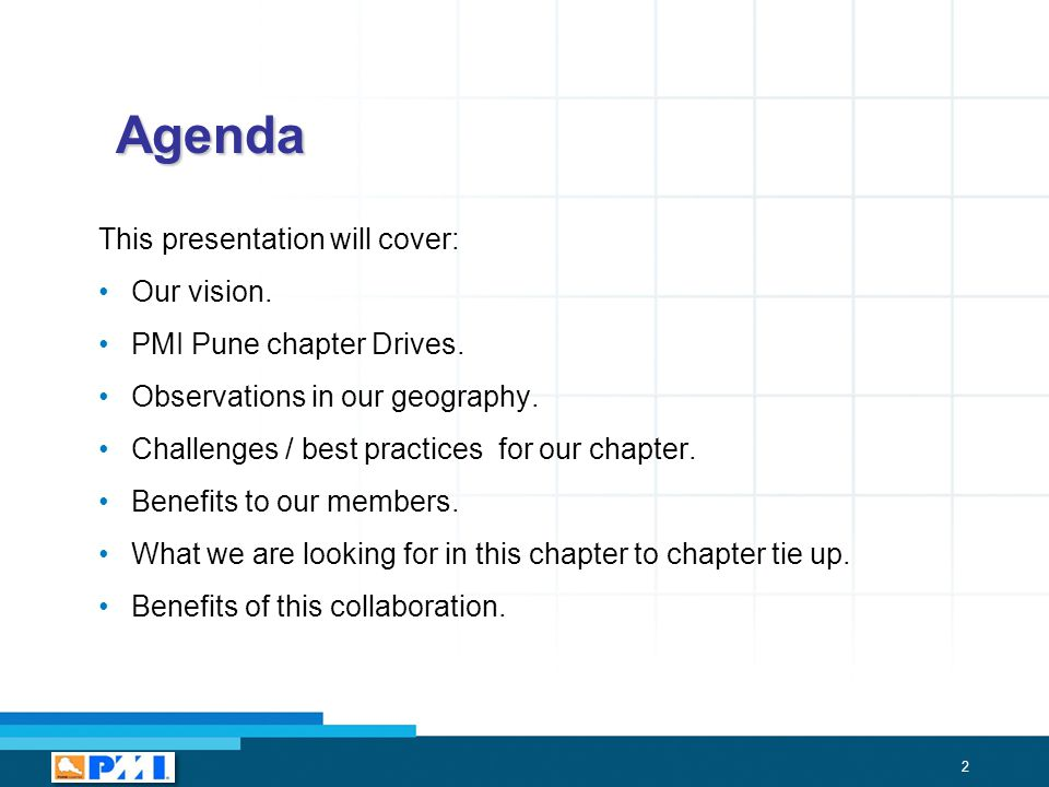 2 Agenda This presentation will cover: Our vision.