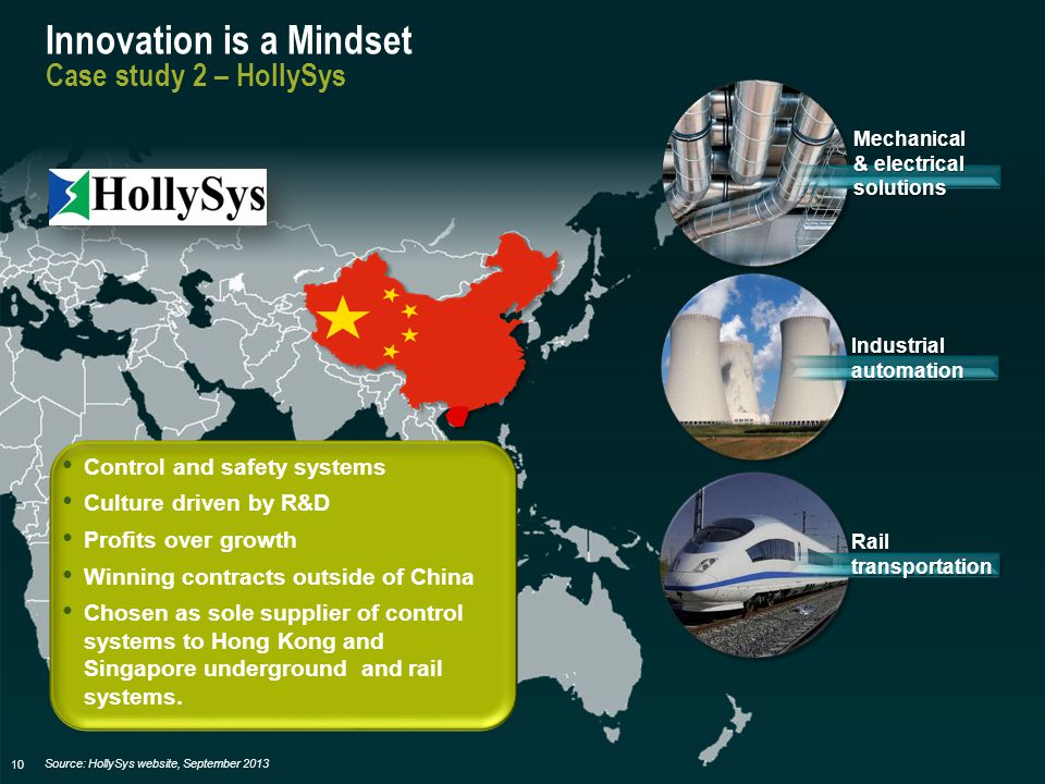 10 Innovation is a Mindset Case study 2 – HollySys Control and safety systems Culture driven by R&D Profits over growth Winning contracts outside of China Chosen as sole supplier of control systems to Hong Kong and Singapore underground and rail systems.