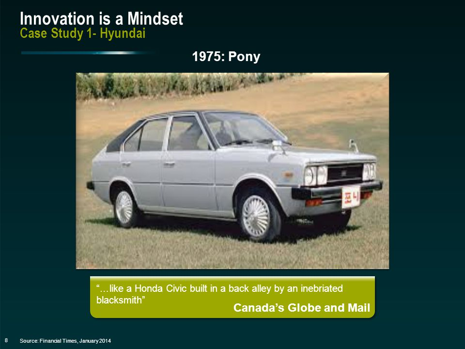 9 Innovation is a Mindset Case Study1 - Hyundai Source: Financial Times, January 2014 It doesn't rattle.