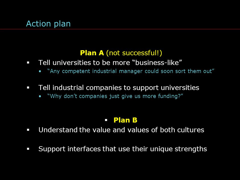 Action plan Plan A (not successful!)  Tell universities to be more business-like Any competent industrial manager could soon sort them out  Tell industrial companies to support universities Why don't companies just give us more funding  Plan B  Understand the value and values of both cultures  Support interfaces that use their unique strengths
