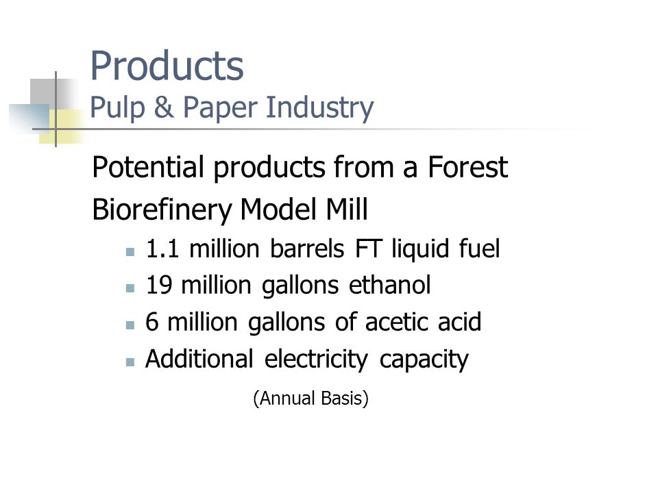 Products Pulp & Paper Industry Potential products from a Forest Biorefinery Model Mill 1.1 million barrels FT liquid fuel 19 million gallons ethanol 6 million gallons of acetic acid Additional electricity capacity (Annual Basis)