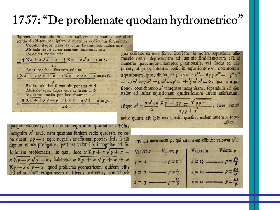 """1757: """"De problemate quodam hydrometrico """""""