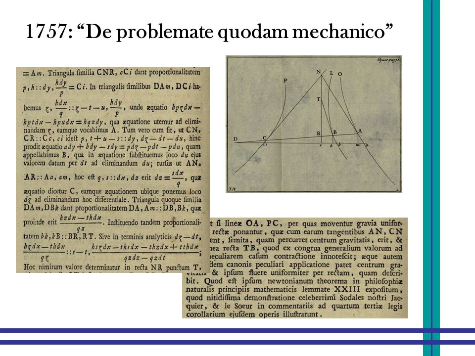 """1757: """"De problemate quodam mechanico"""""""