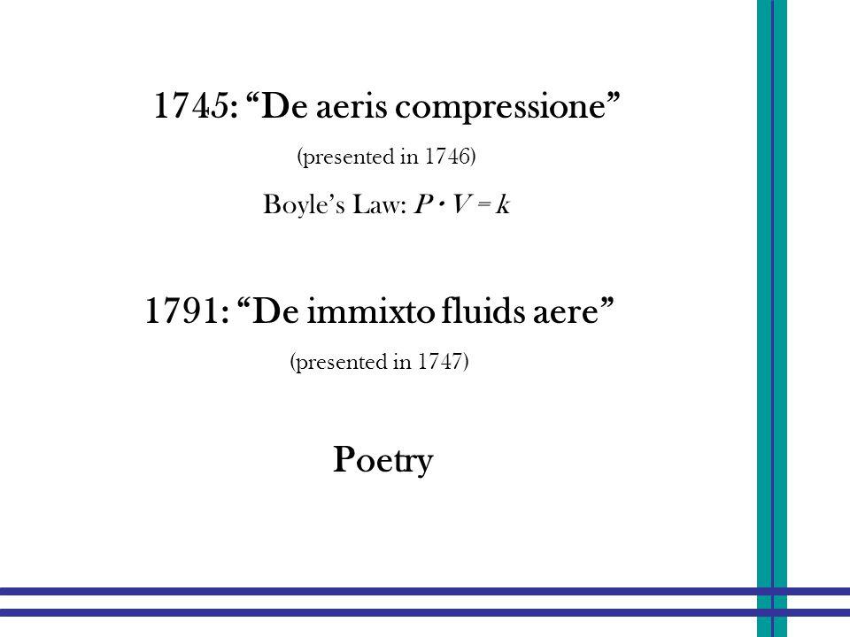 "1791: ""De immixto fluids aere"" (presented in 1747) 1745: ""De aeris compressione"" (presented in 1746) Boyle's Law: P ∙ V = k Poetry"