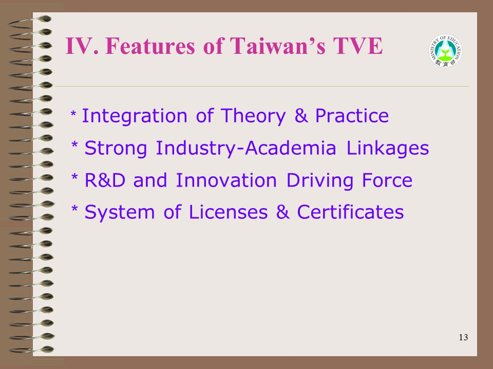 13 IV. Features of Taiwan's TVE * Integration of Theory & Practice * Strong Industry-Academia Linkages * R&D and Innovation Driving Force * System of
