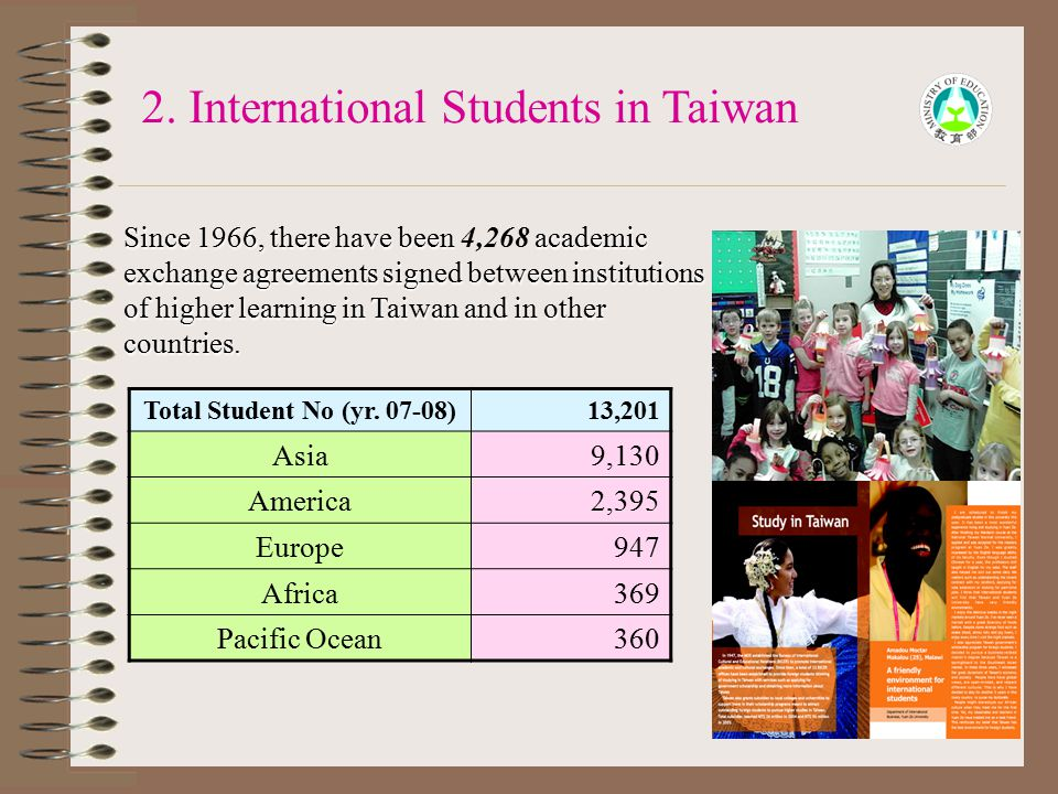 16 Since 1966, there have been academic exchange agreements signed between institutions of higher learning in Taiwan and in other countries. Since 196