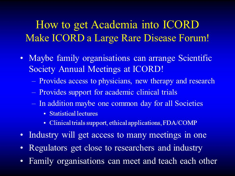 Future Opportunities Make ICORD a Large Rare Disease Forum.
