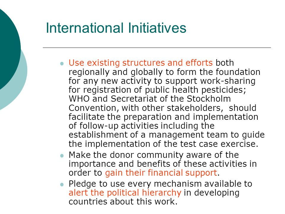 International Initiatives Use existing structures and efforts both regionally and globally to form the foundation for any new activity to support work