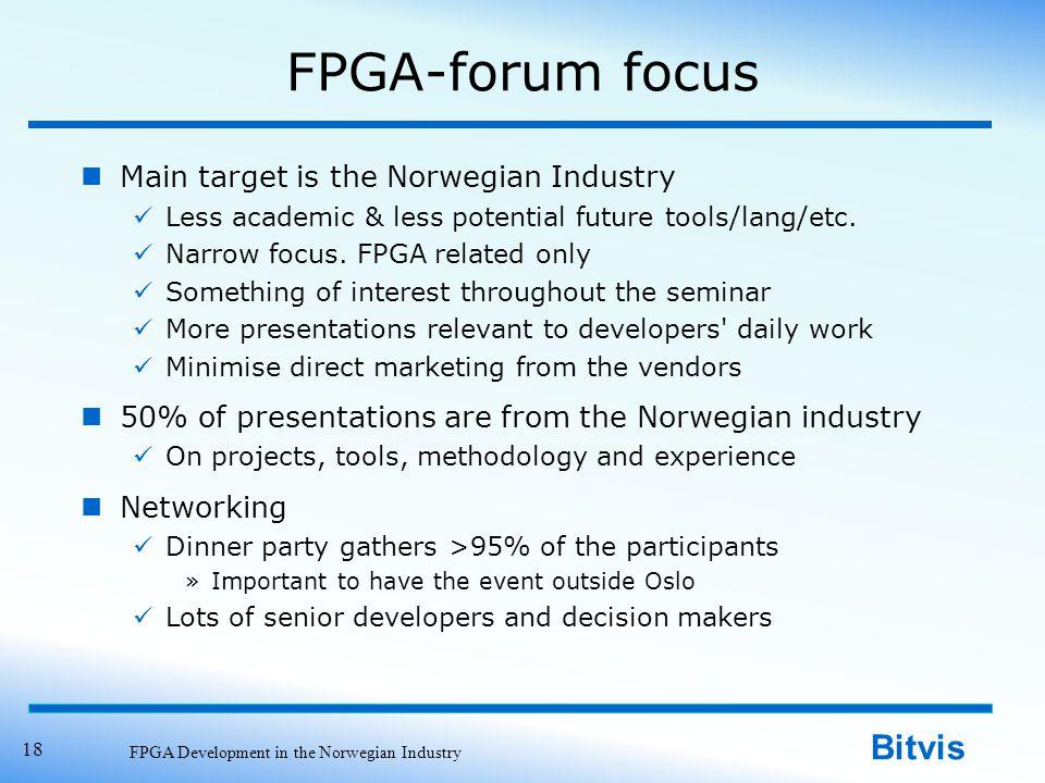 Bitvis FPGA-forum focus Main target is the Norwegian Industry Less academic & less potential future tools/lang/etc. Narrow focus. FPGA related only So