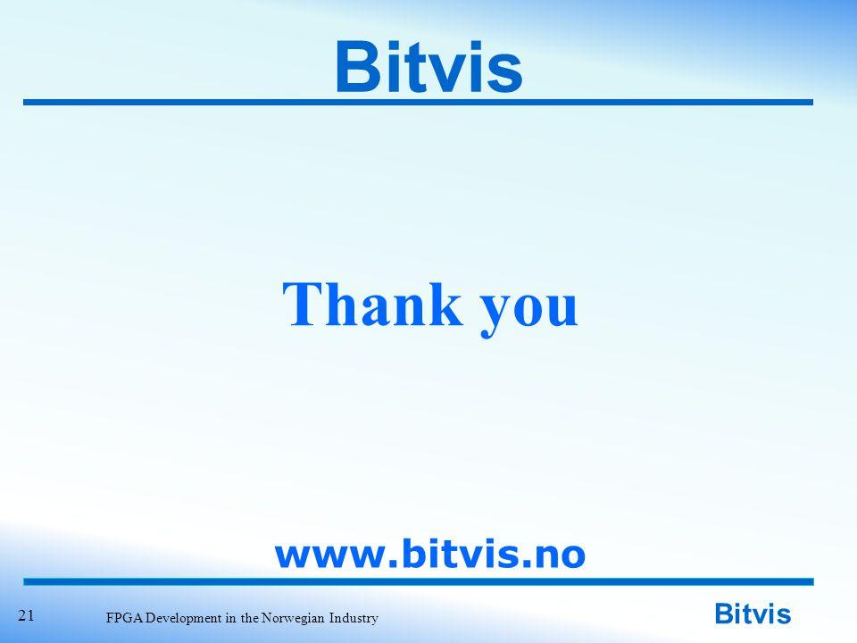 Bitvis FPGA Development in the Norwegian Industry 21 Thank you Bitvis www.bitvis.no