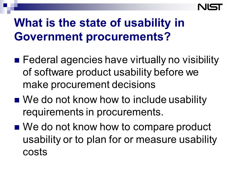 What is the state of usability in Government procurements.