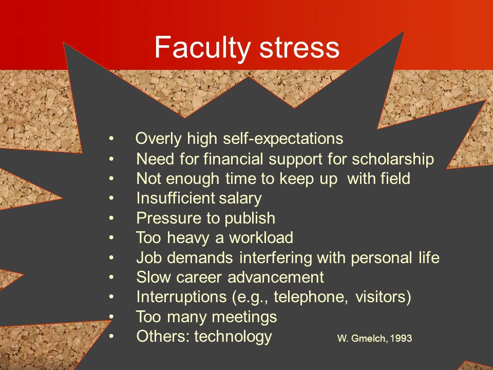 Faculty stress Overly high self-expectations Need for financial support for scholarship Not enough time to keep up with field Insufficient salary Pressure to publish Too heavy a workload Job demands interfering with personal life Slow career advancement Interruptions (e.g., telephone, visitors) Too many meetings Others: technology W.