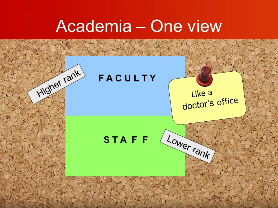 Academia – One view F A C U L T Y S T A F F Higher rank Lower rank Like a doctor's office