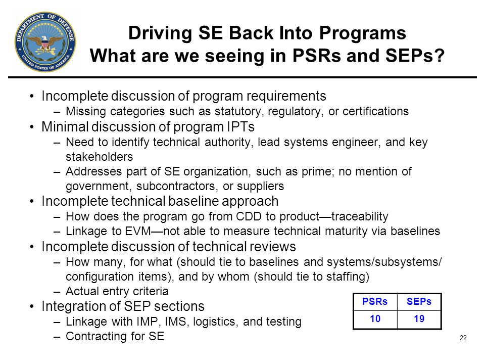22 Driving SE Back Into Programs What are we seeing in PSRs and SEPs.