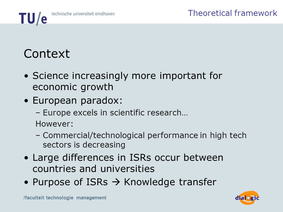 /faculteit technologie management Context Science increasingly more important for economic growth European paradox: –Europe excels in scientific resea