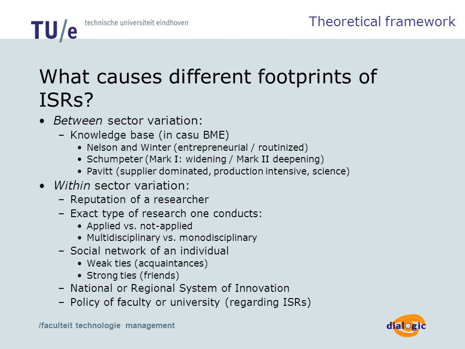 /faculteit technologie management What causes different footprints of ISRs? Between sector variation: –Knowledge base (in casu BME) Nelson and Winter