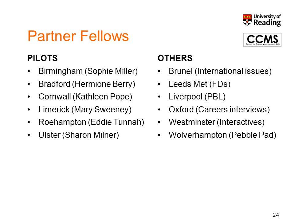 24 Partner Fellows PILOTS Birmingham (Sophie Miller) Bradford (Hermione Berry) Cornwall (Kathleen Pope) Limerick (Mary Sweeney) Roehampton (Eddie Tunnah) Ulster (Sharon Milner) OTHERS Brunel (International issues) Leeds Met (FDs) Liverpool (PBL) Oxford (Careers interviews) Westminster (Interactives) Wolverhampton (Pebble Pad)