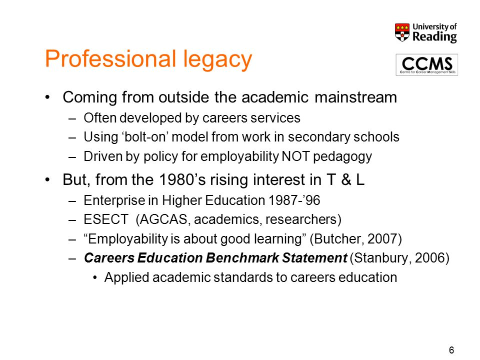Professional legacy Coming from outside the academic mainstream –Often developed by careers services –Using 'bolt-on' model from work in secondary schools –Driven by policy for employability NOT pedagogy But, from the 1980's rising interest in T & L –Enterprise in Higher Education 1987-'96 –ESECT (AGCAS, academics, researchers) – Employability is about good learning (Butcher, 2007) –Careers Education Benchmark Statement (Stanbury, 2006) Applied academic standards to careers education 6