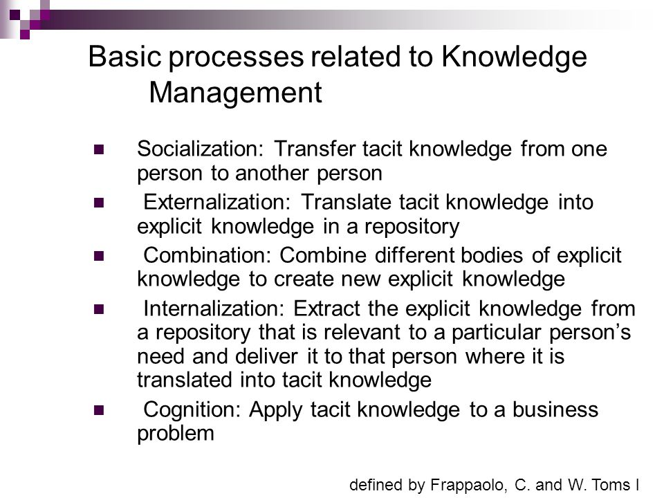 Basic processes related to Knowledge Management Socialization: Transfer tacit knowledge from one person to another person Externalization: Translate t