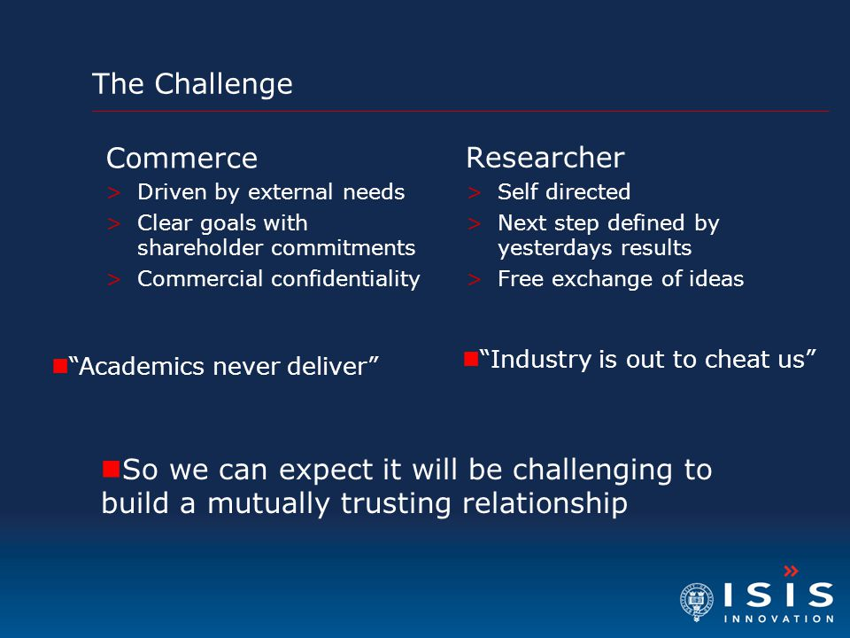 The Challenge Researcher >Self directed >Next step defined by yesterdays results >Free exchange of ideas Commerce >Driven by external needs >Clear goals with shareholder commitments >Commercial confidentiality So we can expect it will be challenging to build a mutually trusting relationship Academics never deliver Industry is out to cheat us