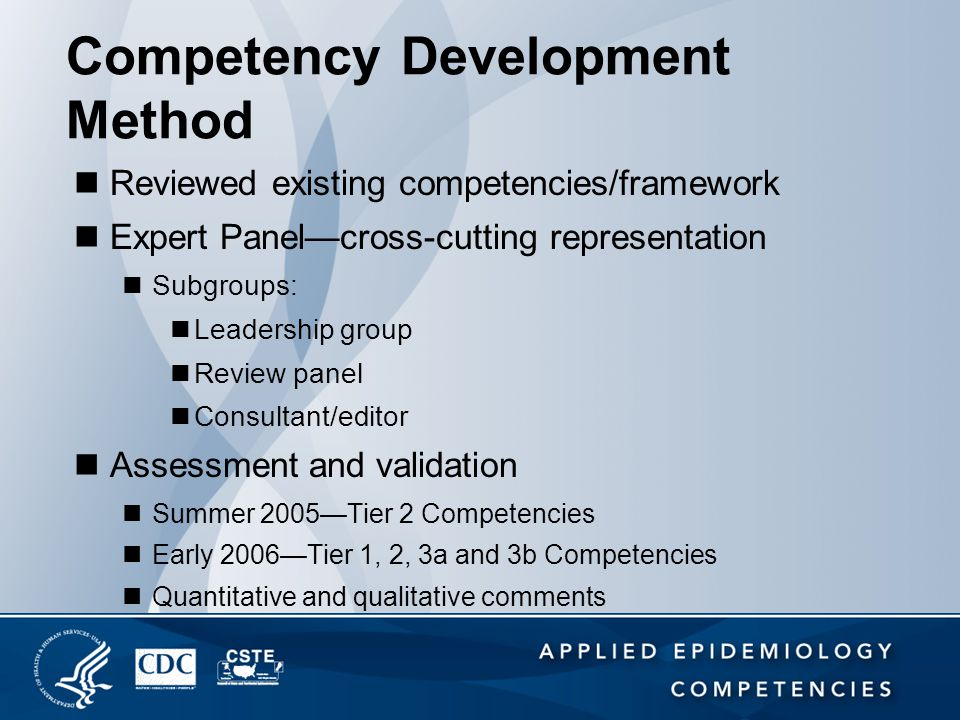 Competency Development Method Reviewed existing competencies/framework Expert Panel—cross-cutting representation Subgroups: Leadership group Review pa