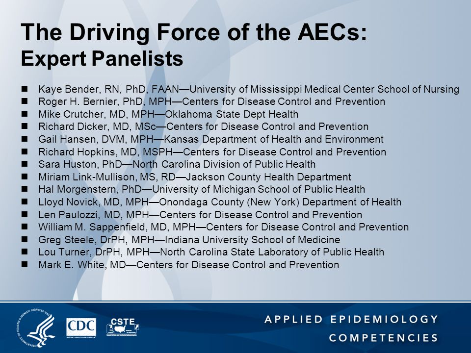 The Driving Force of the AECs: Expert Panelists Kaye Bender, RN, PhD, FAAN—University of Mississippi Medical Center School of Nursing Roger H. Bernier