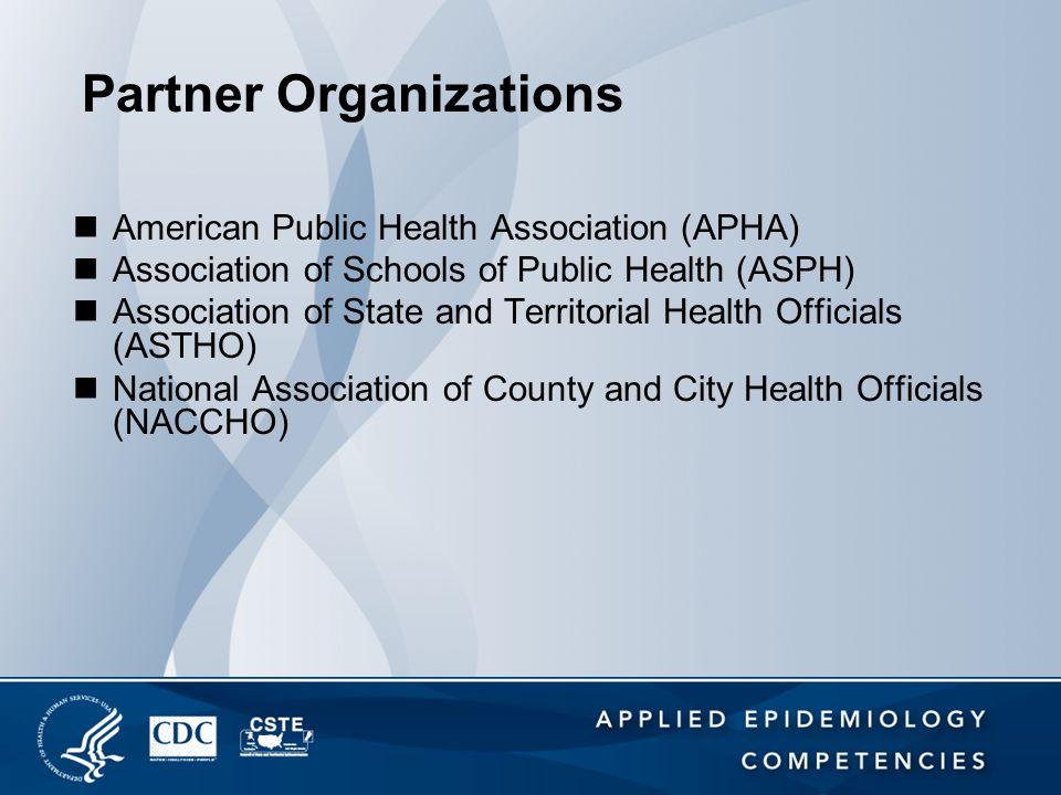 Partner Organizations American Public Health Association (APHA) Association of Schools of Public Health (ASPH) Association of State and Territorial He