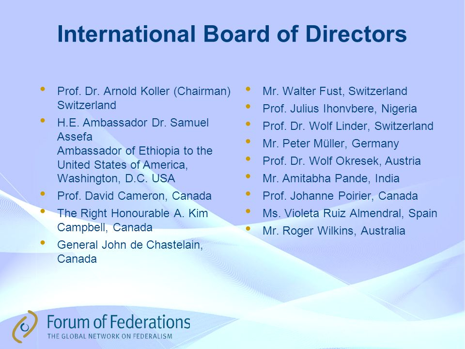 International Board of Directors Prof. Dr. Arnold Koller (Chairman) Switzerland H.E.