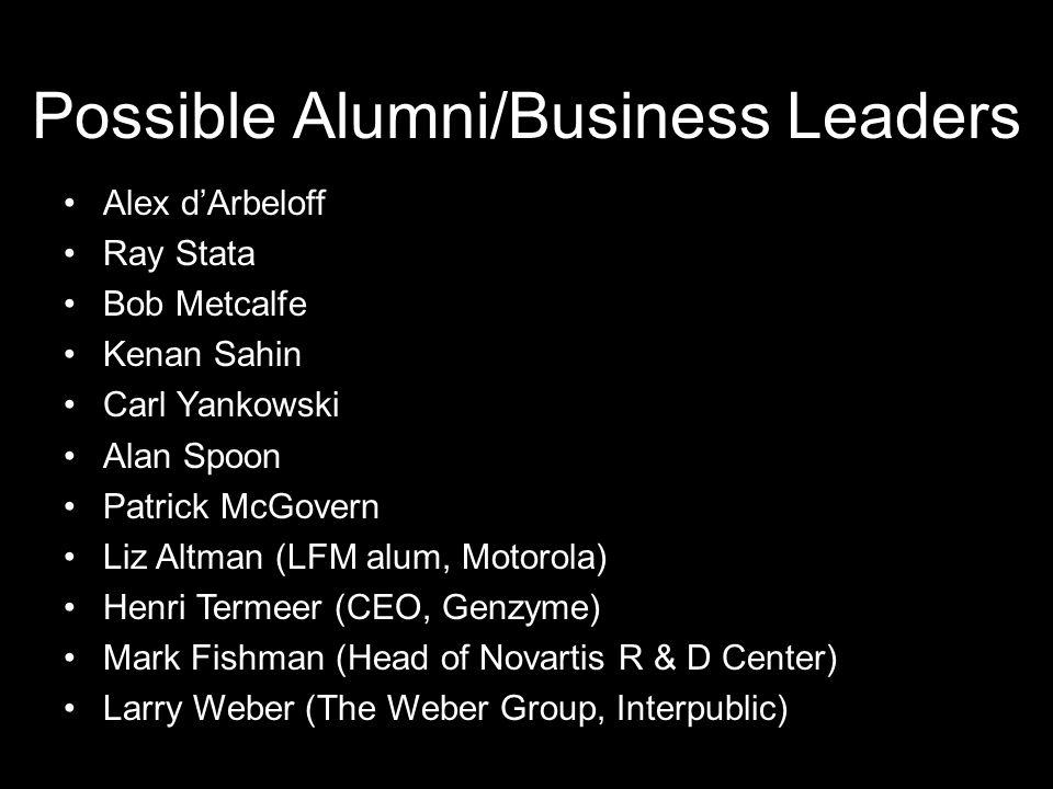 Possible Alumni/Business Leaders Alex d'Arbeloff Ray Stata Bob Metcalfe Kenan Sahin Carl Yankowski Alan Spoon Patrick McGovern Liz Altman (LFM alum, Motorola) Henri Termeer (CEO, Genzyme) Mark Fishman (Head of Novartis R & D Center) Larry Weber (The Weber Group, Interpublic)
