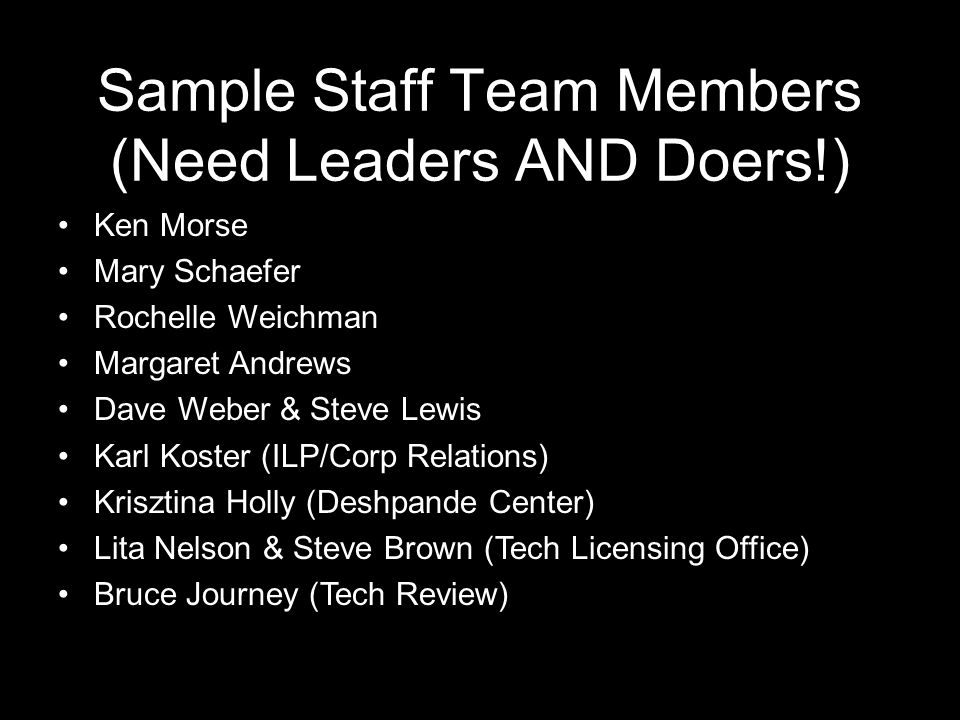 Sample Staff Team Members (Need Leaders AND Doers!) Ken Morse Mary Schaefer Rochelle Weichman Margaret Andrews Dave Weber & Steve Lewis Karl Koster (I