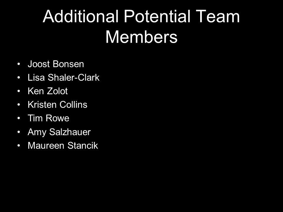 Additional Potential Team Members Joost Bonsen Lisa Shaler-Clark Ken Zolot Kristen Collins Tim Rowe Amy Salzhauer Maureen Stancik