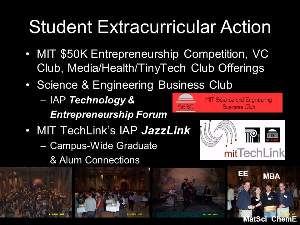 Student Extracurricular Action MIT $50K Entrepreneurship Competition, VC Club, Media/Health/TinyTech Club Offerings Science & Engineering Business Club –IAP Technology & Entrepreneurship Forum MIT TechLink's IAP JazzLink –Campus-Wide Graduate & Alum Connections MBA EE MatSciChemE
