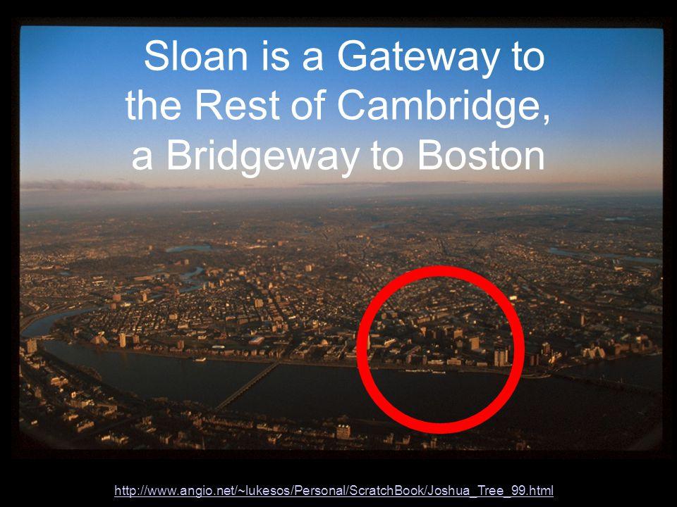 http://www.angio.net/~lukesos/Personal/ScratchBook/Joshua_Tree_99.html Sloan is a Gateway to the Rest of Cambridge, a Bridgeway to Boston