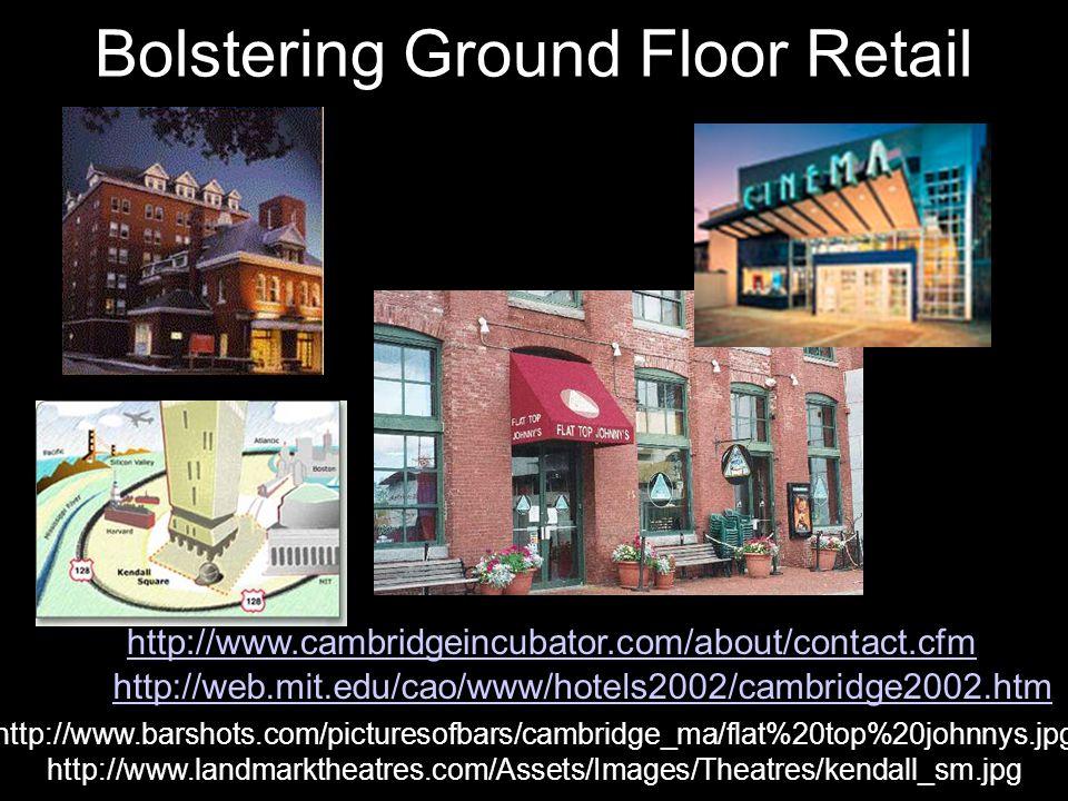 Bolstering Ground Floor Retail http://www.landmarktheatres.com/Assets/Images/Theatres/kendall_sm.jpg http://www.barshots.com/picturesofbars/cambridge_ma/flat%20top%20johnnys.jpg http://web.mit.edu/cao/www/hotels2002/cambridge2002.htm http://www.cambridgeincubator.com/about/contact.cfm