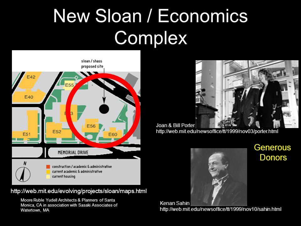New Sloan / Economics Complex http://web.mit.edu/evolving/projects/sloan/maps.html Joan & Bill Porter http://web.mit.edu/newsoffice/tt/1999/nov03/port