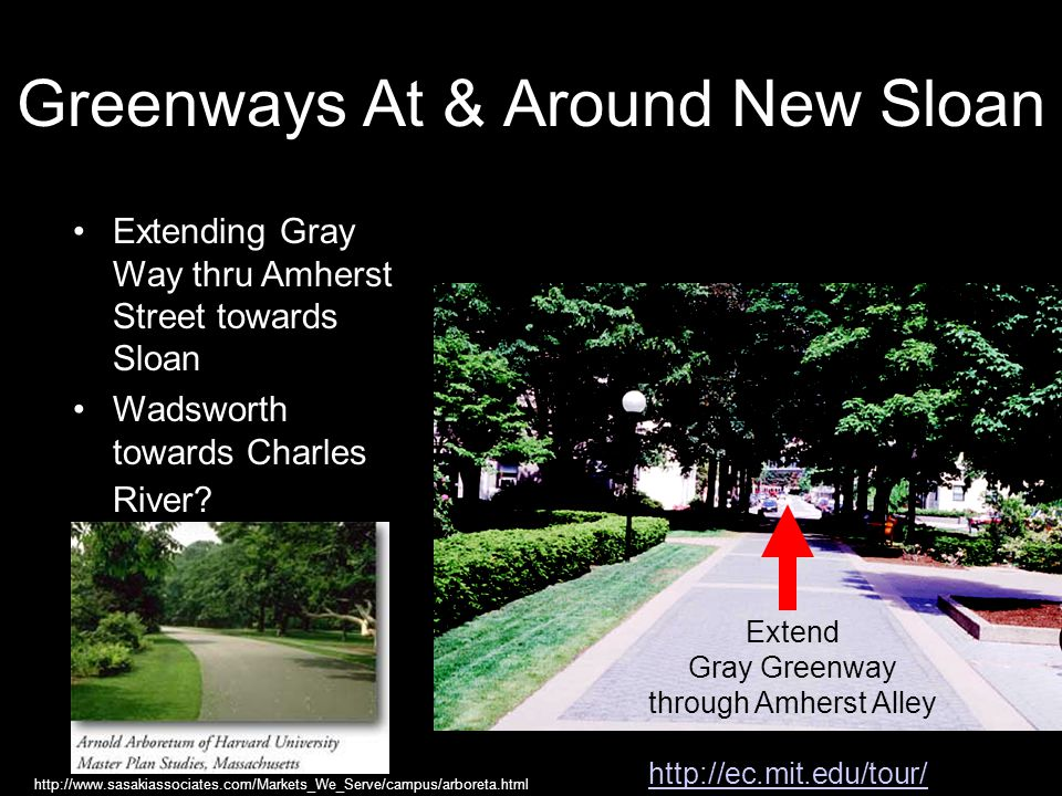 Greenways At & Around New Sloan http://ec.mit.edu/tour/ Extending Gray Way thru Amherst Street towards Sloan Wadsworth towards Charles River.