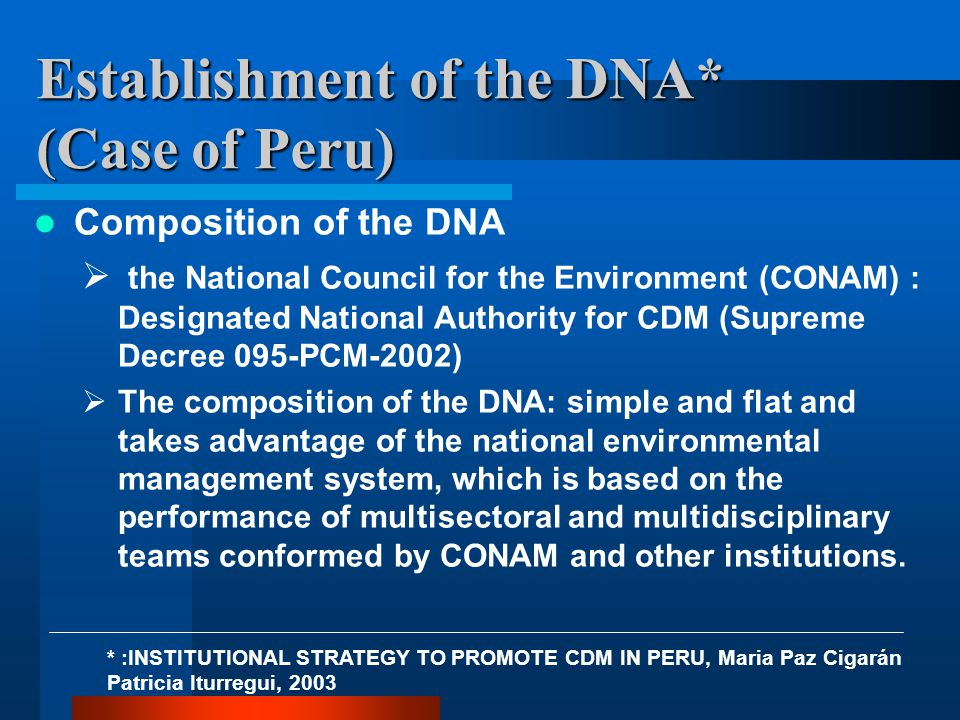 Establishment of the DNA* (Case of Peru) Composition of the DNA  the National Council for the Environment (CONAM) : Designated National Authority for CDM (Supreme Decree 095-PCM-2002)  The composition of the DNA: simple and flat and takes advantage of the national environmental management system, which is based on the performance of multisectoral and multidisciplinary teams conformed by CONAM and other institutions.
