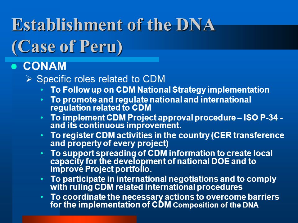 Establishment of the DNA (Case of Peru) CONAM  Specific roles related to CDM To Follow up on CDM National Strategy implementation To promote and regulate national and international regulation related to CDM To implement CDM Project approval procedure – ISO P-34 - and its continuous improvement.