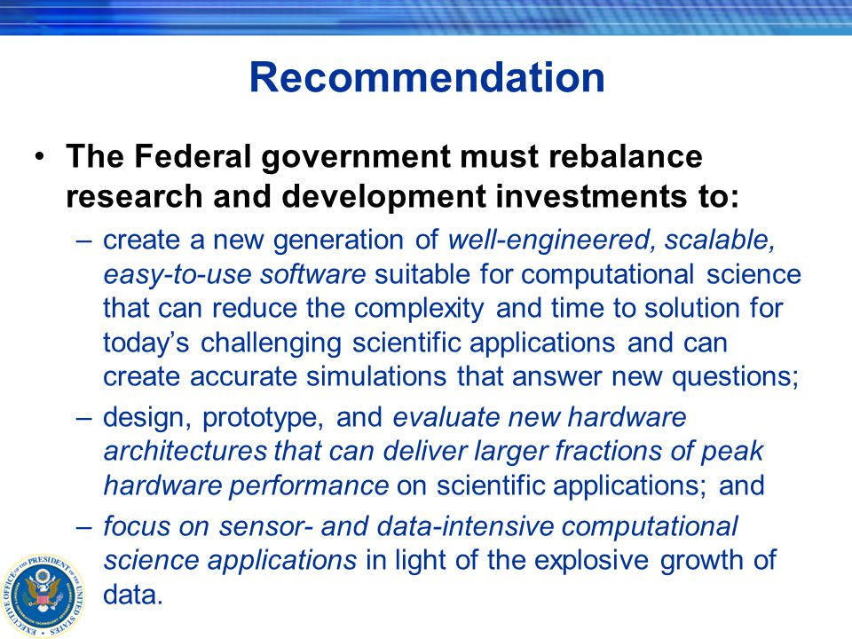Computational Science Software There is a crisis in computational science software –many years of inadequate investments –lack of useful tools –dearth of widely accepted standards and best practices –paucity of third party software vendors –simple lack of perseverance by the community Improvement in computational science software is needed urgently along multiple dimensions