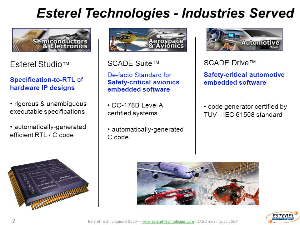 Esterel Technologies © 2006 — www.esterel-technologies.com - DASC meeting, July 25thwww.esterel-technologies.com 2 2 Esterel Technologies - Industries Served SCADE Drive™ Safety-critical automotive embedded software code generator certified by TUV - IEC 61508 standard Esterel Studio ™ Specification-to-RTL of hardware IP designs rigorous & unambiguous executable specifications automatically-generated efficient RTL / C code SCADE Suite™ De-facto Standard for Safety-critical avionics embedded software DO-178B Level A certified systems automatically-generated C code